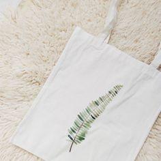 Tote bag canvas cheap fern nature green plant botanical cotton