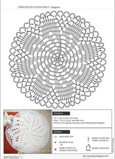 Crochet Doily Rug – Free Pattern - Her Crochet Crochet Doily Rug, Free Crochet Doily Patterns, Crochet Pillow Pattern, Crochet Dollies, Crochet Circles, Crochet Motifs, Crochet Tablecloth, Crochet Diagram, Thread Crochet