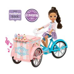 Moxie Girlz™ have ice cream for sale! Come along for bicycle fun, where ice cream treats stack sky high! Moxie Girlz™ Ice Cream Bike™ comes with an exclusive articulated doll that really pedals and plays music when you push her along. Super cute stackable ice cream cones feature four fun flavors. You can even sell ice cream cones to the other Moxie Girlz™ with the paper money included.