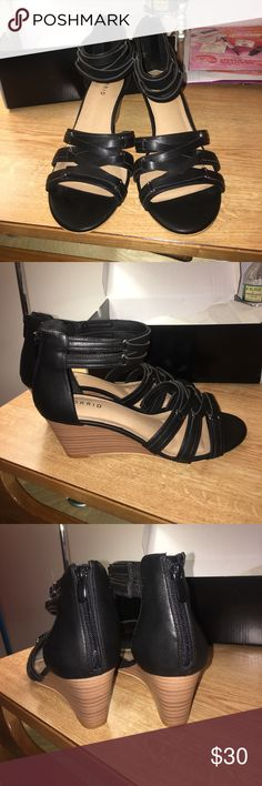 Black wedges Brand new, never worn only tried on but didn't fit. I love these wedges soooo much but was so disappointed they didn't fit and I picked them up today 9/24 after waiting two weeks for it online :( I'm sure someone will appreciate these torrid Shoes Wedges