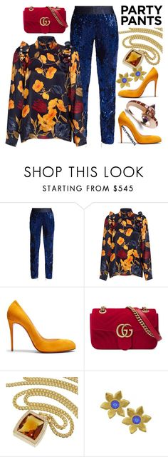 """""""#PolyPresents: Fancy Pants"""" by ellenfischerbeauty ❤ liked on Polyvore featuring Off-White, Mother of Pearl, Christian Louboutin, Gucci, Cartier, Vintage, HowToWear, contestentry, waystowear and polyPresents"""