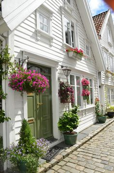 A neighborly exterior of cute cottage homes. Cute Cottage, Beach Cottage Style, Beach Cottage Exterior, Cottage Style Decor, Nantucket Style Homes, Seaside Style, Cottage Design, Coastal Style, Cottage Living
