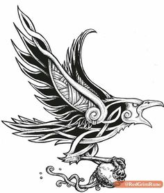 New Bird Tattoo Meaning Life Ideas Celtic Raven Tattoo, Norse Tattoo, Celtic Tattoos, Viking Tattoos, Warrior Tattoos, Armor Tattoo, Tattoo Symbols, Art Viking, Viking Symbols
