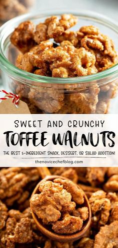 Learn this incredibly easy method of making candied nuts for Christmas in July! These Toffee Walnuts come together in a snap. With only 5 ingredients, you can have a great party snack, a salad addition, or a sweet and crunchy treat for your holiday dessert plate! Recipes Appetizers And Snacks, Easy Snacks, Snack Recipes, Dessert Recipes, Cooking Recipes, Party Recipes, Light Desserts, Just Desserts, Nut Recipes