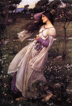 Windflowers - Artist: John William Waterhouse -  Completion Date: 1902 -  Style: Romanticism -  Genre: literary painting -  Technique: oil -  Material: canvas -  Gallery: Private Collection - http://www.wikiart.org/en/john-william-waterhouse/spring-spreads-one-green-lap-of-flowers-1910