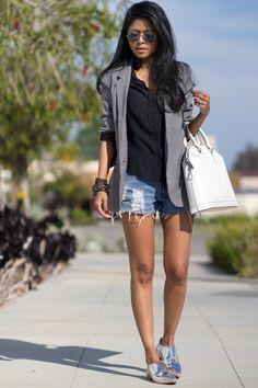 denim shorts + silver loafers + what bag + black blouse + aviators + black watch
