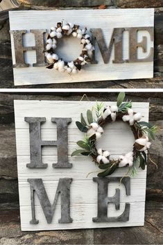 his is an amazing farmhouse inspired home accent piece perfect for any home. Fixer Upper inspired rustic farmhouse sign featuring faux metal letters and a hanccrafted cotton wreath center. Has hook to hang on the wall. Complete your farmhouse style look with this amazing piece. #ad #rusticsign #farmhousedecor #cottonballwreath #fixerupper