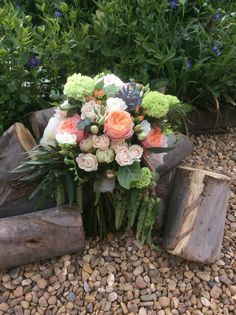 Peonies roses bridal bouquet Leicester