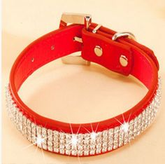 Pet Collar 2016 Hot Bling Rhinestone PU Leather Crystal Diamond Puppy Pet Dog Collars Size S M L Pink Red Supplies Products