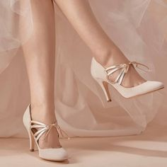 Ivory Bridal Heels Lace up Suede Stiletto Heel Pumps for Wedding. Heel height: Approx 10 inch High quality with strictly handmade. Always Full Size available. For additional size,width,colors and material. We could also offer customized service. Grey Wedding Shoes, White Bridal Shoes, Bridal Heels, Wedding Heels, Wedding Ring, Lace Heels, Dress And Heels, Dress Shoes, Prom Shoes