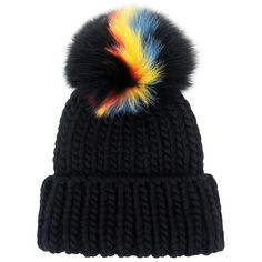 Eugenia Kim - Fur Pompom Rain Beanie (€260) ❤ liked on Polyvore featuring accessories, hats, beanie, headwear, fur beanie hat, beanie cap hat, beanie hat, cable hat and cable knit beanie hat