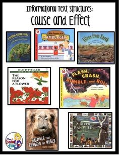 Mentor texts for Informational Text Structures: Cause and Effect and many others. This is a good way to implement informational text and be CCSS aligned. Reading Lessons, Reading Skills, Reading Comprehension Strategies, Informational Writing, Nonfiction, 4th Grade Reading, Mentor Texts, Cause And Effect, Reading Workshop