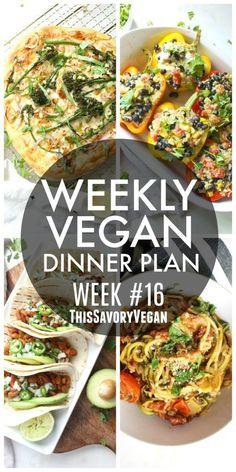 Weekly Vegan Dinner Plan #16