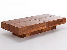 Couchtisch Cube Square 140x70 aus massivem Palisanderholz