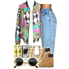 Throwback- 90`s by kiaratee on Polyvore featuring polyvore, fashion, style, Topshop, Timberland and Nokia