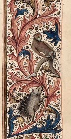 A monkey is doing something in a late fifteenth century edition of Jean de Wavrin's Anciennes et novellas chronicles d'Angleterre - Bizarre and vulgar illustrations from illuminated medieval manuscripts