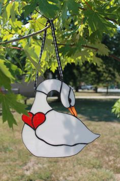 Stained Glass Swan with Heart by TheTwoMargos on Etsy, $30.00
