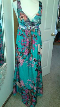 Meghan Los Angeles Ladies Maxi Silk Dress Multi-Color SZ 6 Jeweled Belt #Meghan #Maxi #Cocktail