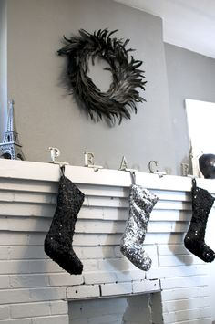 My sparkly mantle for Christmas this year at the house. Goes with my Black Christmas Tree. Everything should have some sequins somewhere!
