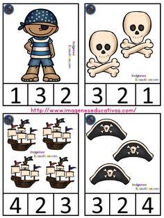 Tarjetas de asociación cantidad-grafía-imágen - Imagenes Educativas Preschool Pirate Theme, Pirate Activities, Bible Activities For Kids, Numbers Preschool, Educational Games For Kids, Preschool Learning Activities, Bible For Kids, Pirate Kids, Pirate Day