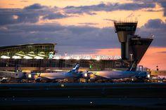 Helsinki-Vantaa airport at sunset.