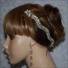 bohemian Crystal Rhinestone Silver Plated Scallop Bridal Headband Bridal head piece Wedding Bridal hair piece Bridal headpiece Choose Ribbon Color $52.00