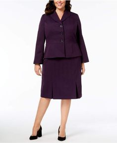 639bfc2e00 Le Suit Plus Size Three-Button Crosshatched Skirt Suit Women - Wear to Work  - Macy s