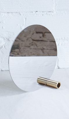 Disc Mirror With Brass Tube