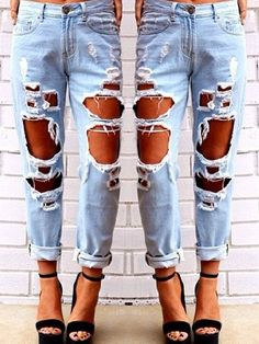 Stylish Mid-Waisted Hold Design Women's Jeans