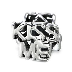 """""""Kiss Me"""" Real Sterling Silver Charm Bead"""