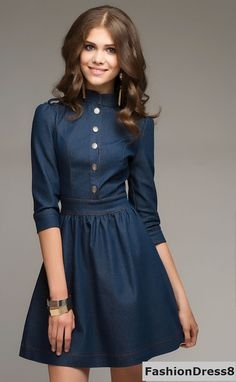 Jeans Mini Dress FoldsFlirty Street Fashion Dress by Frock Fashion, Denim Fashion, Fashion Dresses, Womens Fashion, Street Fashion, Fashion News, Stylish Dresses, Elegant Dresses, Casual Dresses