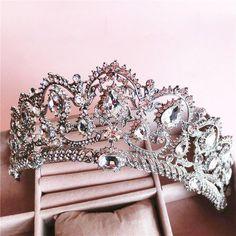 Baroque Queen's crown rhinestone hair ornaments jewelry European princess bride wedding headdress wedding hair jewelry