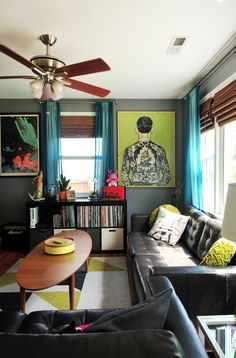 Matt & Mel's Animated Abode - living room - small space with bold colors