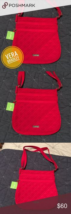 NWT Vera Bradley Quilted Crossbody Bag Never used cherry red quilted cross body bag. An instant pop of color to any outfit! Vera Bradley Bags Crossbody Bags