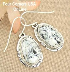 Four Corners USA Online Native American Artisan Jewelry - White Buffalo Turquoise Sterling Silver Earrings by Native American Navajo Kathy Yazzie NAER-1425, $119.00 (http://stores.fourcornersusaonline.com/white-buffalo-turquoise-sterling-silver-earrings-by-native-american-navajo-kathy-yazzie-naer-1425/)