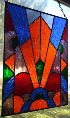 Stained Glass Panel Art Deco Glass Art by CLStainedGlassStudio