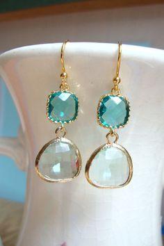 Cool vert et turquoise en verre bleu par JocelynBrownDesigns