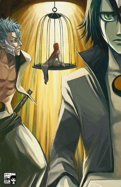 Caged by koloromuj Grimmjow looks a bit sympathetic here although Orihime is too busy looking at Ulquiorra to notice.