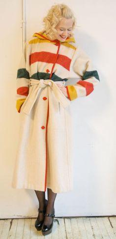 1980s vintage // Woolrich Belted Blanket Coat by dethrosevintage, $278.00