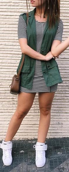fall outfit ideas / striped dress + green vest