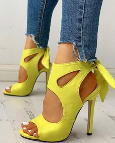 Shop Peep Toe Cutout Knotted Thin Heels right now, get great deals at joyshoetique Lace Up Heels, Pumps Heels, Stiletto Heels, Flats, Peep Toe Heels, Trend Fashion, Fashion Shoes, Style Fashion, Classy Fashion