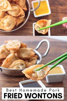 Best Ever Pork Fried Wontons - Trend Air Fryer Recipes 2020 Wonton Appetizers, Asian Appetizers, Appetizer Recipes, Dinner Recipes, Wonton Filling Recipes, Pork Wonton Recipe, Easy Chinese Recipes, Asian Recipes, Mexican Food Recipes