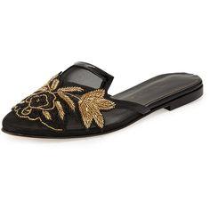 Oscar de la Renta Patrizia Embroidered Slip-On Flat Mule (2,260 PEN) ❤ liked on Polyvore featuring shoes, black mule shoes, black mules, black slip-on shoes, slip on shoes and slip on flats
