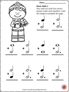 Music Math with a WINTER Theme! 24 worksheets aimed at reinforcing students' understanding and knowledge of note and rest values. Each music math worksheet has an image for the student to color. Music Math, Music Classroom, Music Lessons For Kids, Music For Kids, Art Lessons, Piano Songs For Beginners, Music Theory Worksheets, Math Pages, Piano Teaching