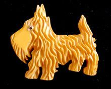 Bakelite Butterscotch Carved Scottie Dog Pin