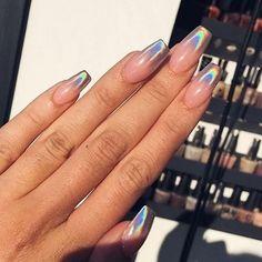 mentions J'aime, 158 commentaires - Tiger Mist (Sandie Springer) sur Ins. Holographic Nails Acrylic, Simple Acrylic Nails, Best Acrylic Nails, Minimalist Nails, Faded Nails, My Nails, Purple Chrome Nails, Crome Nails, Chrome Nails Designs