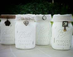 Classic White Ball Canning Jars-wedding or shabby chic country decor. Burlap and charms hang from sisal twine. Blessed, Heart, Love & Flower by TheAtticShelf on Etsy
