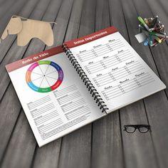 Planner 2018 para imprimir. Planner PDF em português para imprimir, com Roda da Vida para analisar os diversos aspectos da sua vida.