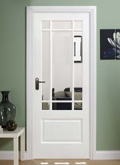 Attirant Solid White Downham Internal Door Composite Construction With Clear  Bevelled Glazed Units