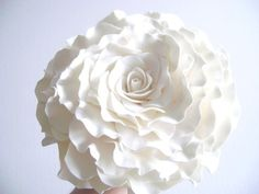 Single Flower Bouquet White Rose Bridal Bouquet by parsi on Etsy